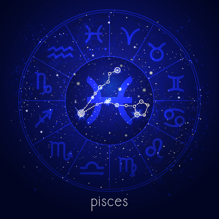 Zodiac sign and constellation PISCES with Horoscope circle and sacred symbols on the starry night sky background. Vector illustrations in blue color. Illustration