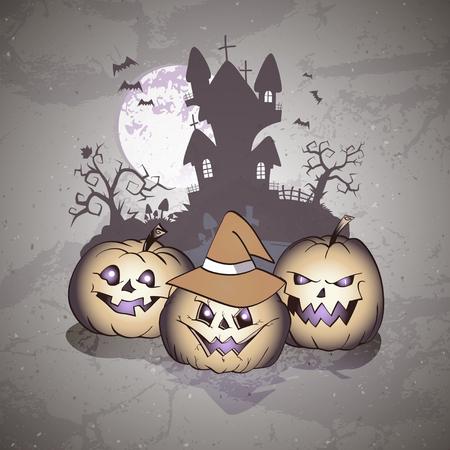 Vektor-Halloween-Illustration mit lächelnden Kürbissen, Fledermäusen und finsterem Schloss auf Schmutzhintergrund.