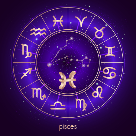 Zodiac sign and constellation PISCES with Horoscope circle and sacred symbols on the starry night sky background with geometry pattern. Zodiac sign Vector illustrations in purple color. Gold elements.