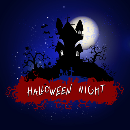 Vector Halloween illustration with sinister castle and inscription on starry sky nightly background with full moon. Blue background.