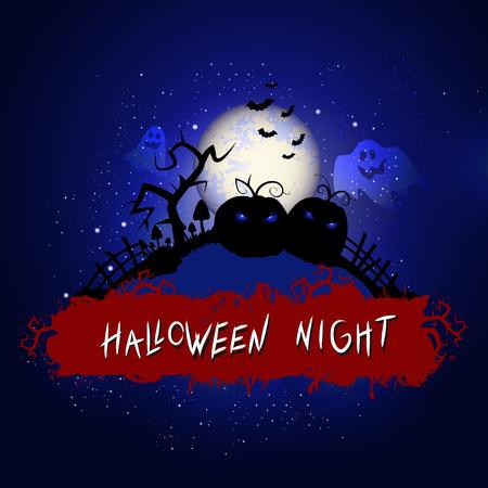 Vektor-Halloween-Illustration mit Kürbissen und Inschrift auf nächtlichem Hintergrund des Sternenhimmels mit Vollmond. Blauer Hintergrund. Vektorgrafik