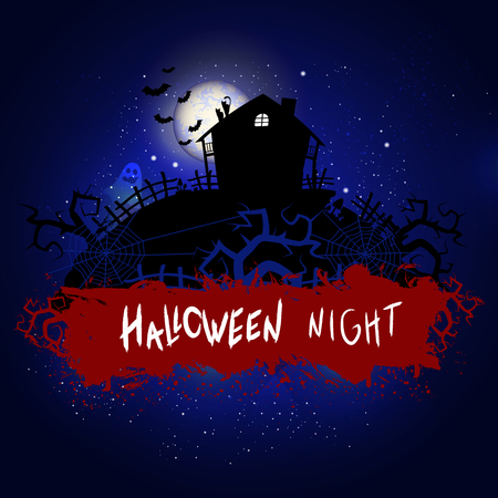 Vector Halloween illustration with abandoned house and inscription on starry sky nightly background with full moon. Blue background. Illustration