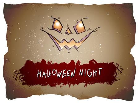 Halloween-Illustration mit Kürbisgesicht und handgezeichneter Beschriftung auf altem zerrissenem Papierhintergrund. Vektorgrafik