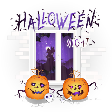 Halloween illustration with window, pumpkins and hand drawn inscription on a brick light background. Night landscape with sinister castle and a full moon outside the window.