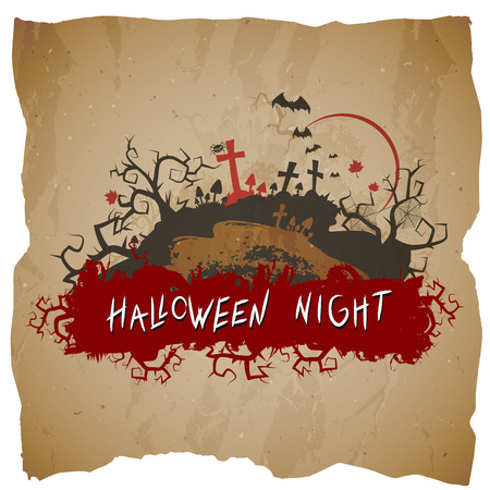 Vector Halloween illustration with cemetery and inscription on grunge background. Иллюстрация