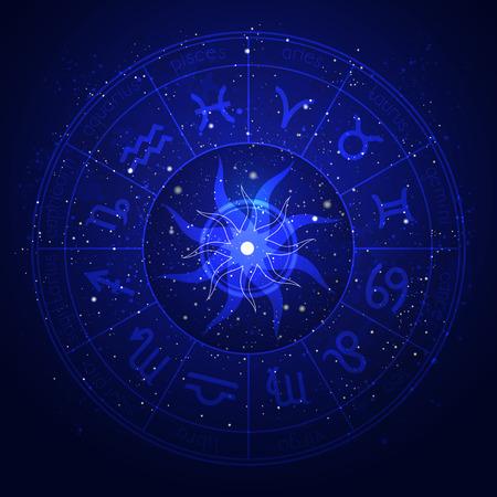 Illustration with Horoscope circle and Zodiac symbols on the starry night sky background. Ilustração