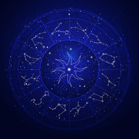 Ilustración con el círculo del horóscopo y la constelación del zodíaco en el fondo del cielo nocturno estrellado.