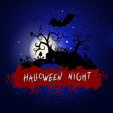 Vector Halloween illustration with sinister cemetery and inscription on starry sky nightly background with full moon. Blue background. Illustration