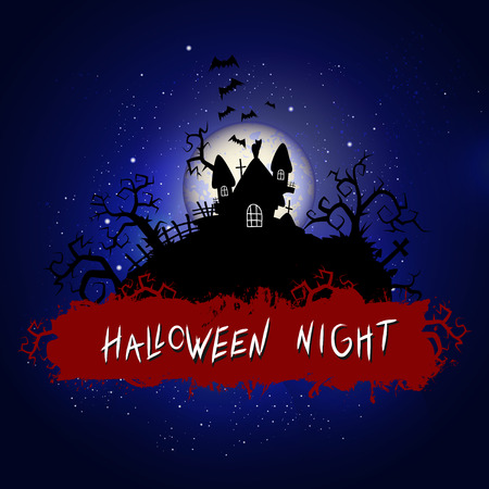Halloween illustration with sinister castle and inscription on starry sky nightly background with full moon. Blue background.