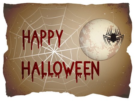 Halloween illustration with full moon and blood stains lettering on old torn paper background.