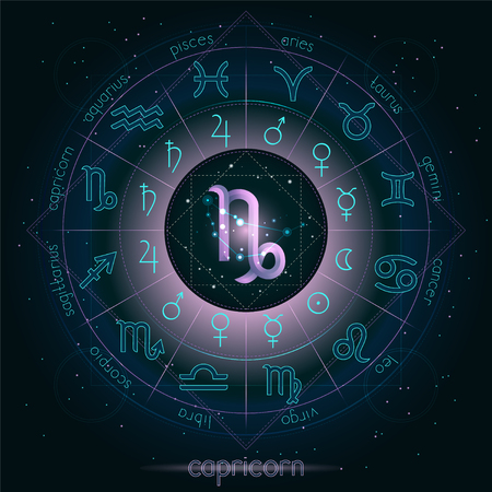Zodiac sign and constellation CAPRICORN with Horoscope circle on the starry night sky background with geometry pattern. Sacred symbols and pictograms astrology planets in mystical circle. Pink and turquoise elements on a dark background.