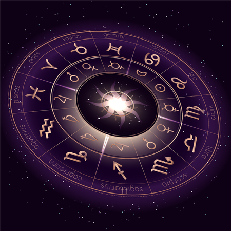 illustration with Horoscope circle, Zodiac symbols and pictograms astrology planets on the starry night sky background with geometry pattern. Image in perspective. Gold and purple elements. Vektoros illusztráció