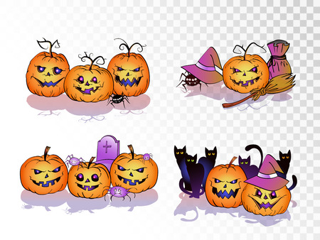 Vector set of smiling Pumpkins on transparent background. Halloween collection.