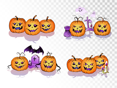 Vector set of cartoonPumpkins on transparent background. Halloween collection.