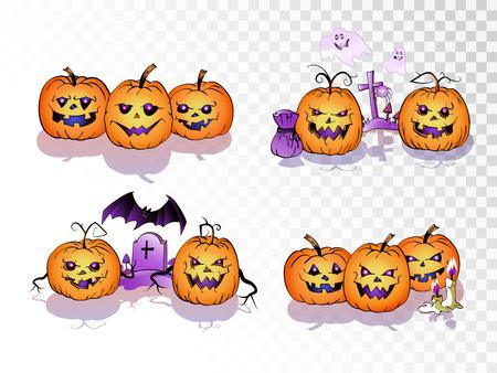 Vector set of cartoonPumpkins on transparent background. Halloween collection.