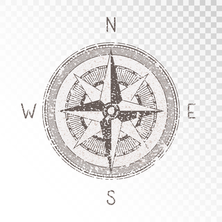 Vector illustration with a vintage textured compass or wind rose and grunge texture elements on transparent background. With basic directions North, East, South and West.