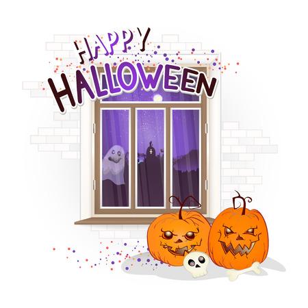 Vektor-Halloween-Illustration mit Fenster, Kürbissen und handgezeichneter Inschrift auf einem hellen Hintergrund des Ziegelsteins. Nachtlandschaft mit Friedhof und Vollmond vor dem Fenster.