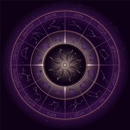 Vektorillustration mit Horoskopkreis, Tierkreissymbolen und Astrologiekonstellationen auf dem sternenklaren Nachthimmelhintergrund mit Geometriemuster. Goldene und violette Elemente. Vektor. Vektorgrafik