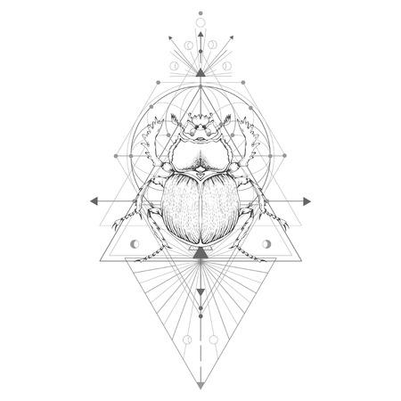 Ilustración de vector con escarabajo dibujado a mano y símbolo geométrico sagrado sobre fondo blanco. Signo místico abstracto. Forma lineal negra. Para tu diseño: tatuaje, impresión, carteles, camisetas, textiles y manualidades mágicas.