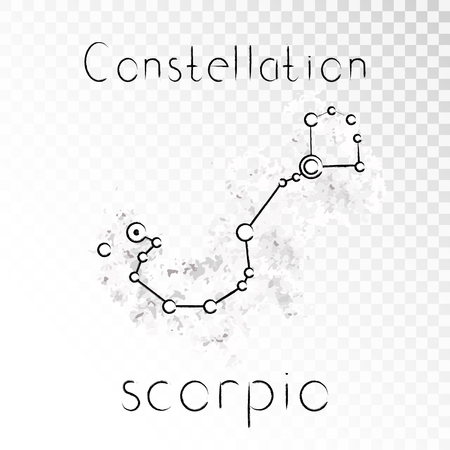 Vector illustration with Zodiac constellation SCORPIO on a grunge ink background. Monochrome.