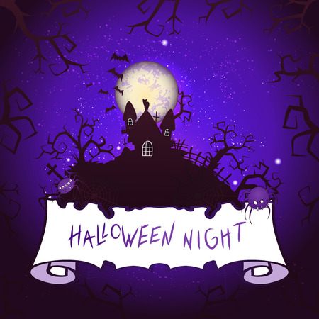 Vector Halloween illustration with castle, torn banner and lettering on starry sky nightly background with full moon. Purple background. Иллюстрация