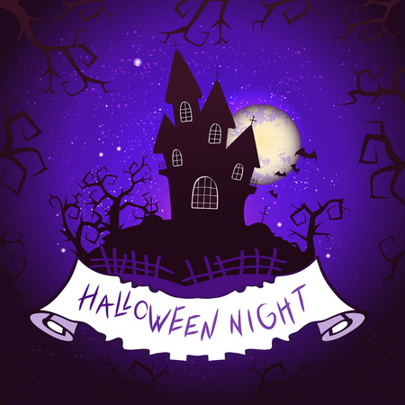 Vector Halloween illustration with castle, torn banner and lettering on starry sky nightly background with full moon. Purple background. Ilustração