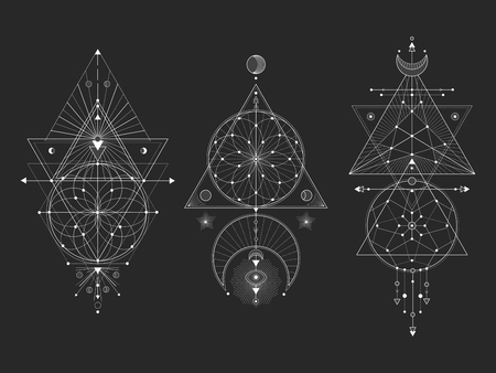 Vector set of Sacred geometric symbols with moon, eye, arrows, dreamcatcher and figures on black background. White abstract mystic signs collection drawn in lines. For you design: tattoo, print, posters, t-shirts, textiles and magic craft.