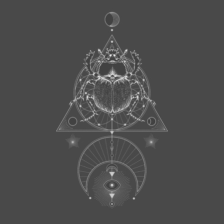 Vector illustration with hand drawn scarab and Sacred geometric symbol on black vintage background. Abstract mystic sign. White linear shape. For you design: tattoo, print, posters, t-shirts, textiles and other.