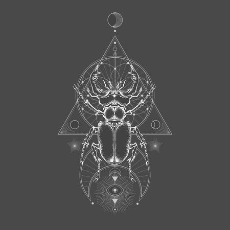 Ilustración de vector con escarabajo ciervo dibujado a mano y símbolo geométrico sagrado sobre fondo negro vintage. Signo místico abstracto. Forma lineal blanca. Para tu diseño: tatuaje, impresión, carteles, camisetas, textiles y otros.