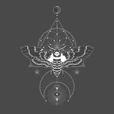 Vektorillustration mit Hand gezeichneter toter Kopfmotte und heiligem geometrischem Symbol auf schwarzem Weinlesehintergrund. Abstraktes mystisches Zeichen. Weiße lineare Form. Für Sie gestalten: Tätowierung, Druck, Poster, T-Shirts, Textilien und anderes.