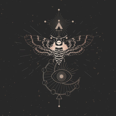 Vector illustration with hand drawn dead head moth and Sacred geometric symbol on black vintage background. Abstract mystic sign. Gold linear shape. For you design: tattoo, print, posters, t-shirts, textiles and other.