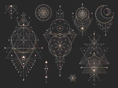 Insieme di vettore dei simboli geometrici sacri con luna, occhio, frecce, acchiappasogni e figure su sfondo nero. Collezione di segni mistici astratti d'oro disegnata in linee. Per il tuo design: tatuaggi, stampe, poster, t-shirt, tessuti e oggetti magici. Vettoriali