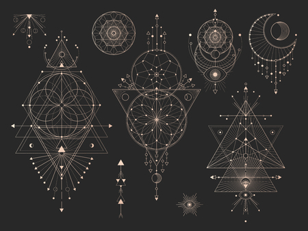 Vector set of Sacred geometric symbols with moon, eye, arrows, dreamcatcher and figures on black background. Gold abstract mystic signs collection drawn in lines. For you design: tattoo, print, poster  イラスト・ベクター素材