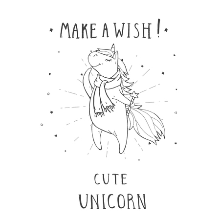 Vector illustration of hand drawn cute unicorn in scarf with stars, hearts,  and text – MAKE A WISH! On withe background. For print, t-shits, greeting cards, poster, children room decoration and other. Cartoon style. Monochrome.