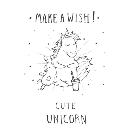 Vector illustration of hand drawn cute sitting unicorn with coffee, bunny toy and text – – MAKE A WISH! On withe background. For print, t-shits, greeting cards, poster, children room decoration and other. Cartoon style. Monochrome. Stock Illustratie