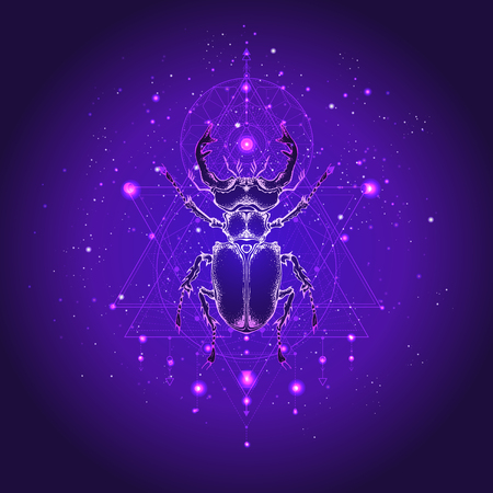 Vector illustration with hand drawn stag beetle and Sacred geometric symbol against the starry sky. Abstract mystic sign. Linear shape. For you design: tattoo, print, posters, t-shirts, textiles and other.
