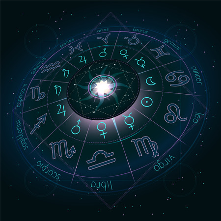 Illustration with Horoscope circle, Zodiac symbols and pictograms astrology planets on the starry night sky background with geometry pattern. Image in perspective. Pink and turquoise elements. Vector.