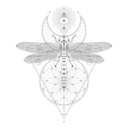 Vector illustration with hand drawn dragonfly and Sacred geometric symbol on white background. Abstract mystic sign. Black linear shape. For you design: tattoo, print, posters, t-shirts, textiles and magic craft.