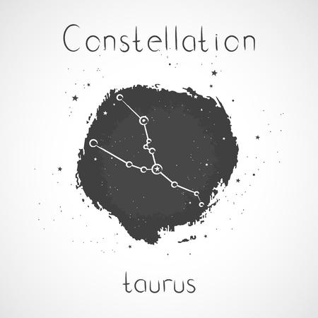 Vector illustration with Zodiac constellation TAURUS on a grunge ink background. Monochrome. Illustration