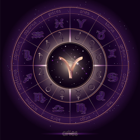 Zodiac sign and constellation ARIES with Horoscope circle on the starry night sky background with geometry pattern. Sacred symbols and pictograms astrology planets in mystical circle. Gold and purple elements. Vector.
