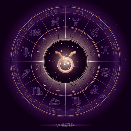 Zodiac sign and constellation TAURUS with Horoscope circle on the starry night sky background with geometry pattern. Sacred symbols and pictograms astrology planets in mystical circle. Gold and purple elements. Vector.