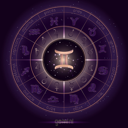 Zodiac sign and constellation GEMINI with Horoscope circle on the starry night sky background with geometry pattern. Sacred symbols and pictograms astrology planets in mystical circle. Gold and purple elements. Vector.