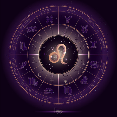 Zodiac sign and constellation LEO with Horoscope circle on the starry night sky background with geometry pattern. Sacred symbols and pictograms astrology planets in mystical circle. Gold and purple elements. Vector.
