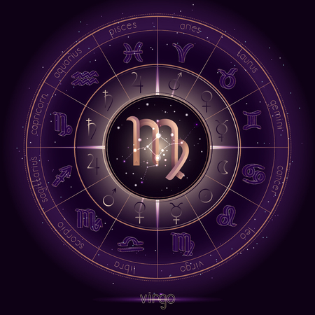 Zodiac sign and constellation VIRGO with Horoscope circle on the starry night sky background with geometry pattern. Sacred symbols and pictograms astrology planets in mystical circle. Gold and purple elements. Vector. Çizim