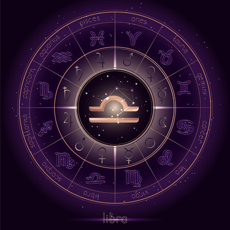 Zodiac sign and constellation LIBRA with Horoscope circle on the starry night sky background with geometry pattern. Sacred symbols and pictograms astrology planets in mystical circle. Gold and purple elements. Vector. Çizim