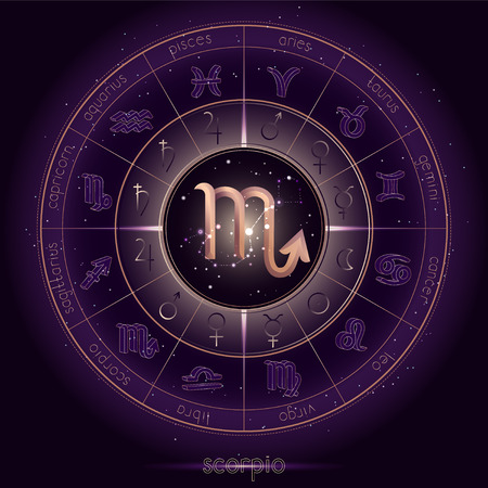 Zodiac sign and constellation SCORPIO with Horoscope circle on the starry night sky background with geometry pattern. Sacred symbols and pictograms astrology planets in mystical circle. Gold and purple elements. Vector.