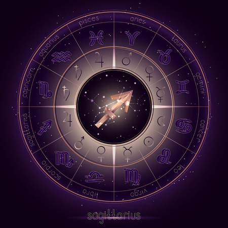 Zodiac sign and constellation SAGITTARIUS with Horoscope circle on the starry night sky background with geometry pattern. Sacred symbols and pictograms astrology planets in mystical circle. Gold and purple elements. Vector. Ilustração