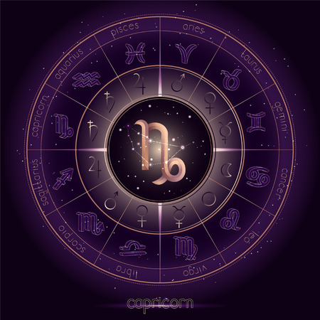 Zodiac sign and constellation CAPRICORN with Horoscope circle on the starry night sky background with geometry pattern. Sacred symbols and pictograms astrology planets in mystical circle. Gold and purple elements. Vector.