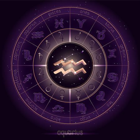 Zodiac sign and constellation AQUARIUS with Horoscope circle on the starry night sky background with geometry pattern. Sacred symbols and pictograms astrology planets in mystical circle. Gold and purple elements. Vector.