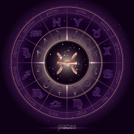 Zodiac sign and constellation PISCES with Horoscope circle on the starry night sky background with geometry pattern. Sacred symbols and pictograms astrology planets in mystical circle. Gold and purple elements. Vector.